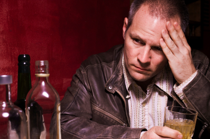Depressed Forty Year Old Man Drinking Alone